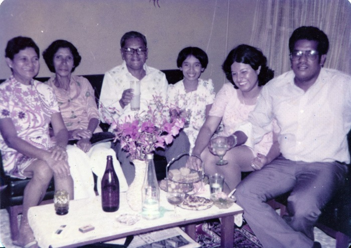 Happy times (From left to right): Aggie >, my maternal grandparents Patsy Sequeira and Cyril Pinto. aunt Veronica Pinto, godparents Maureen Singh-Pinto and Victor Pinto.