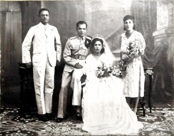 Wedding portrait: My maternal grandparents Patsy Sequeira and Cyril Alexander Pinto with their sponsors, 1941.