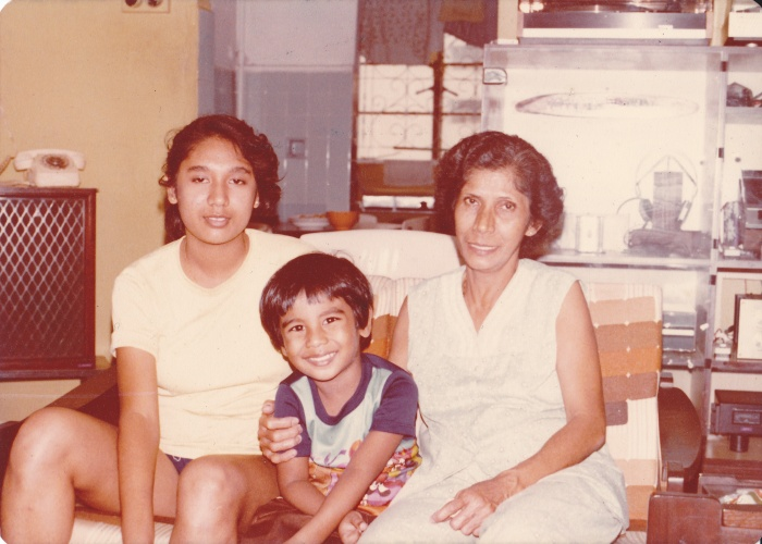 Family (from left to right): My aunt Veronica Pinto, cousin Kenneth Pinto and maternal grandmother Patsy Pinto nee Sequeira, circa 1983.
